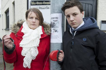 Tracy Draper and her son Dylan Draper-Dunn, 15, near the spot in Gore Court Road, Sittingbourne, where their dog was stolen