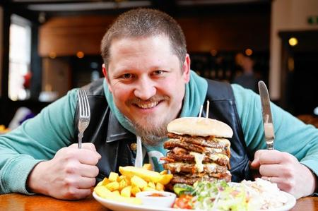 Richard Wooldridge with the giant burger.