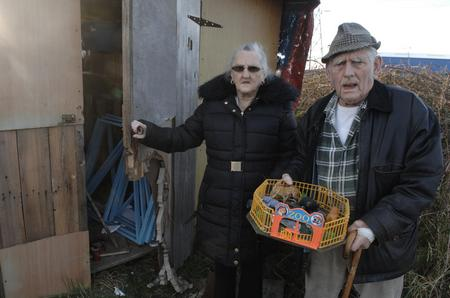 Josephine and Leonard Aylwin outside their Sheerness allotment shed with what is left of their miniature circus