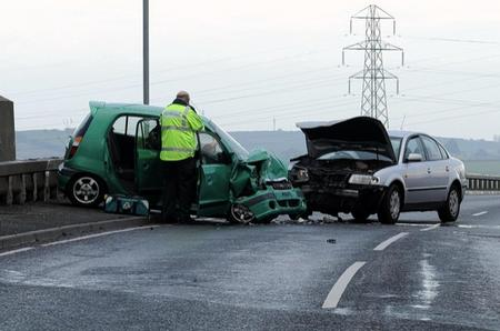 Fire crews at the scene of a crash on Sheppey today