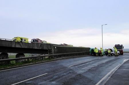 Rescuers at the scene of a multi-car pile-up on Sheppey