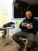 Christian Nock enjoys a well earned brew at Sheerness Swimming Pool