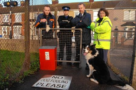 Environment warden Daniel Bacon, PCSO Robert Holmes, dog warden Tim Oxley and Pearl Morgan with Prince
