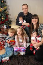 Victoria Eldridge and Paul Shaw with new twins Nicholas and Matthew and three-year-old William and Isabel