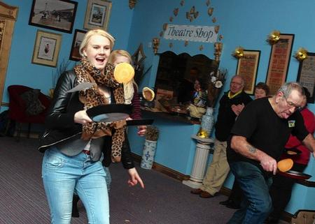Emily Pettley joins in the pancake race