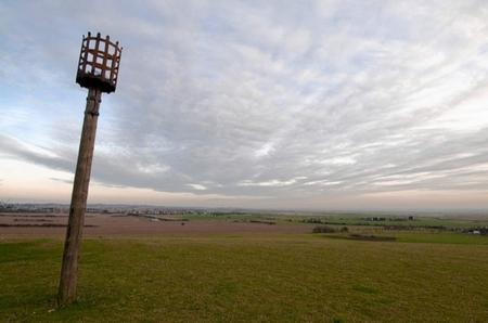 The beacon and the view from the top of Furze Hill
