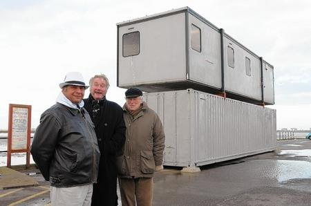 Marco Devereux, Geof Reed and Bob Eatwell outside the new office