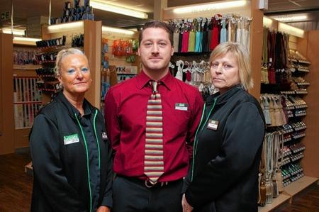 Dunelm Mill staff, from left, Sue Hussein, Adam Seymour and Lynn Ovenstone