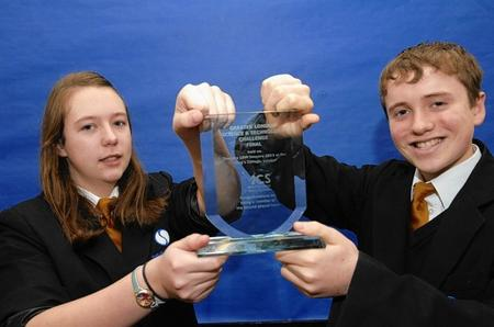 Elizabeth Burrows and Ewan Goddard at the Isle of Sheppey Academy who came second in the Science Technology Challenge held at King's College, London