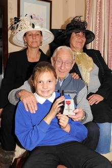 Stan Partner MBE with Daughters, Denise Luckhurst (Black hat)- Sharon Gale and Daughter Megan Gale (10).