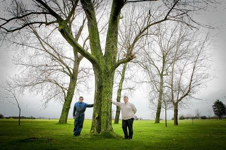 Head greens keeper Paul Bishenden and Alex Tindall by one of the trees