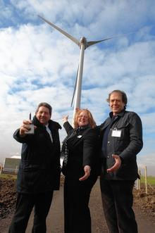 Gordon Henderson MP, Sarah Coccia, Governor of Eastchurch Prison and Stephen Ainger, CEO of Partnerships for Renewables at the 'Switch-On' of the two wind turbines