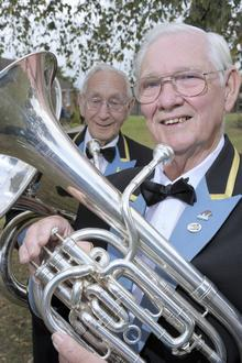 Terry Long and Stan Partner (left) - members of the Snowdown Colliery Brass.