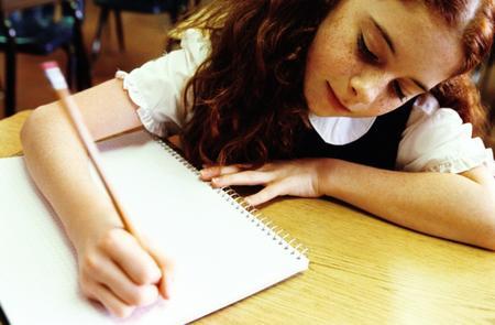 Girl studying in school