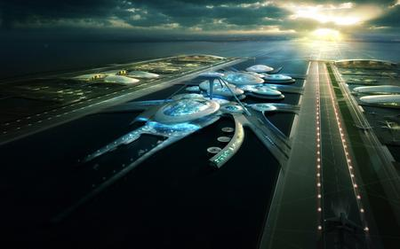 Designs for a floating Thames Estuary airport designed by architects Gensler
