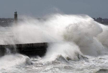 Huge waves lash Margate's Harbour Arm