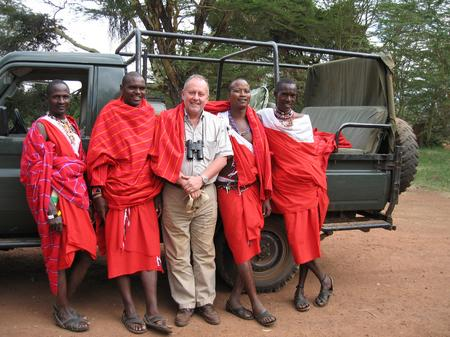 Professor Ian Swingland with James Kinyaga and Ochen Mayiani in Kafue National Park, Zambia, in support of the Samburu and Il Ngwesi Maasai people