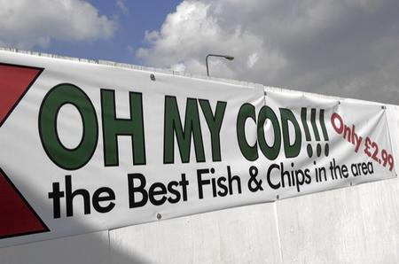 Banner advertising Del's Fish Bar in St Michaels
