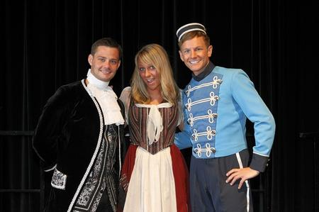 Stars of this year's Hazlitt panto, from left, Danny Young, as Dandini (from Coronation Street), Chloe Madeley as Cinderella (Dancing On Ice finalist) and Chris Edgerley as Buttons (CITV HI5 presenter)