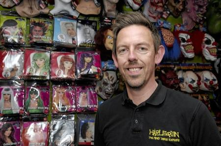 Harlequin fancy dress shop owner, Justin Atwell is shocked how he has sold all his stock of the Jimmy Savile fancy dress outfit.