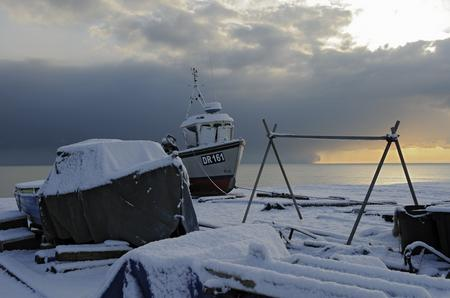 Boats covered in snow on Walmer seafront. Picture: Tony Flashman