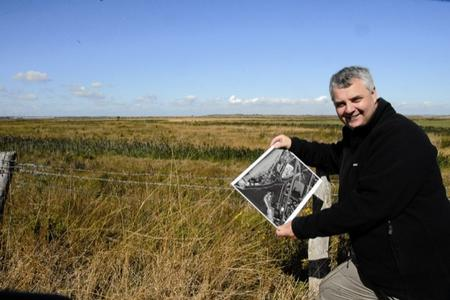 Exhibition organiser Mark Harrison overlooks the site of the battle