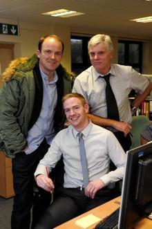 Actor Rory Kinnear with Gazette chief reporter Gerry Warren (top)and news editor Joe Walker.