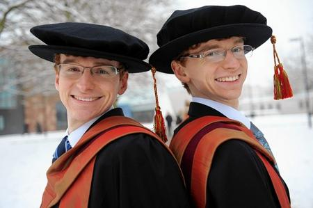 Mark (right) and Leigh Whitehead, twins from Leybourne and former Oakwood Grammar students who have got both graduated with PhDs in particle physics.