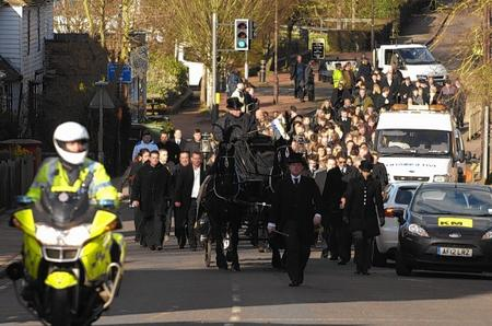 Funeral procession for Jack Hilding in Staplehurst high street.