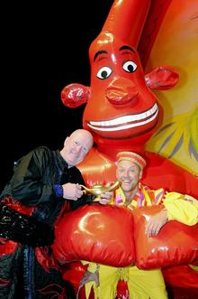 Steve McFadden as Abanazar, left, with Matt Slack as Wishee Washee at Dartford's Orchard Theatre