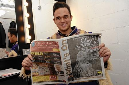 Gareth Gates with his copy of What's On, ahead of starring in the Marlowe Theatre's pantomime Cinderella
