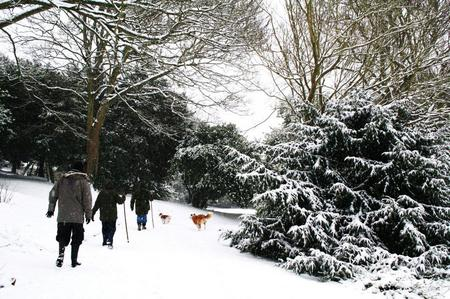 Walkers in Connaught Park in Dover trudge through the snow in this picture taken by Karole Stone