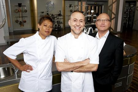 Gregg Wallace, right, with Monica Galetti and Michel Roux Jr on MasterChef: The Professionals. Picture: PA Photo/BBC/Shine TV.