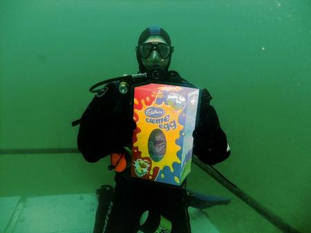 Underwater egg hunting at Holborough Lanes in Snodland