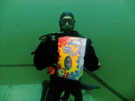 Underwater egg hunting at Holborough Lanes in Snodland