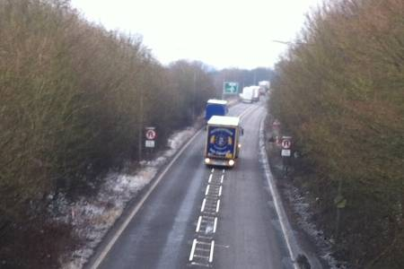 Lorry tailback at the scene of the crash on the A2 at Guston near Dover