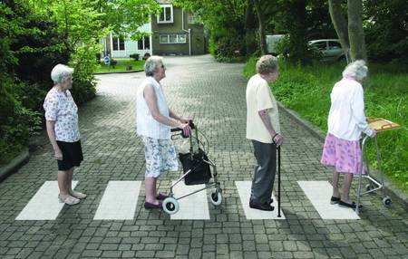 Abbeyfield residents with their version of the Beatles' Abbey Road album cover