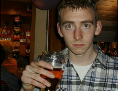 Murderer Adam Whelehan poses with pint in his Twitter profile picture
