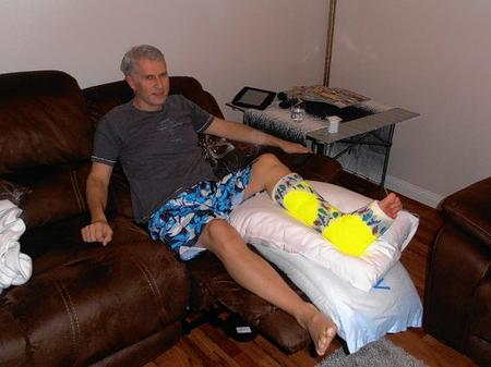Mark Pamplin recovering at home from a broken ankle