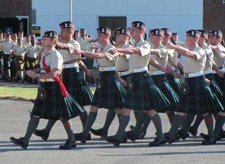 Soldiers from the Argyll and Sutherland Highlanders on parade at Howe Barracks