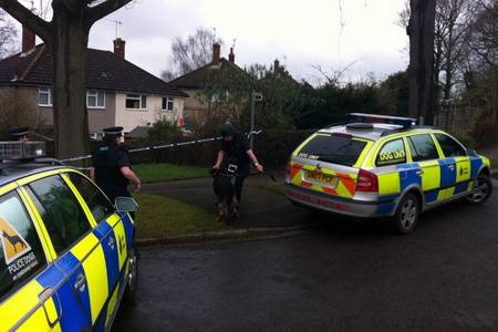 Police with dogs arrive at the scene in Tonbridge