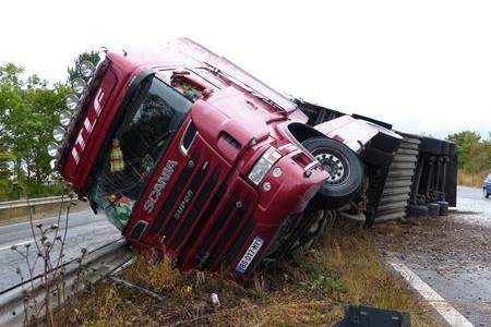 The A2 was damaged when this lorry crashed at Barham.