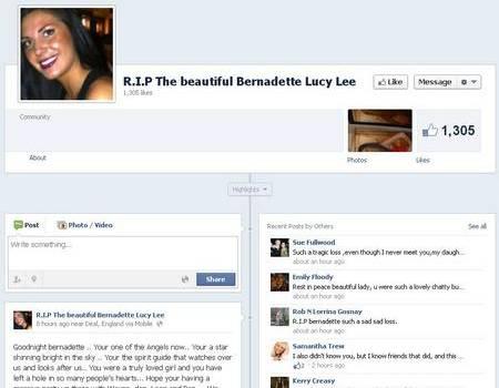 A Facebook group was set up in memory of tragic Bernadette Lee