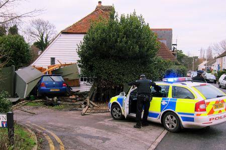 Police at the scene of the car crash in Herne Bay