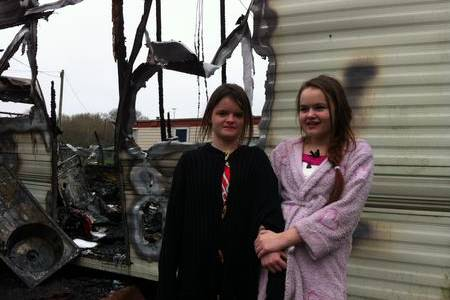 Three girls escaped from this burning caravan in Snowdown caravan park in Aylesham. Pictured Sarah Lane and Bonnie Woodcock