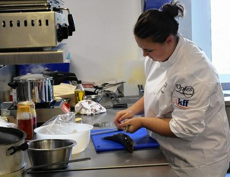 Eden Allsworth in the kitchen battling it out for the senior title for the Kent Young Chef competition