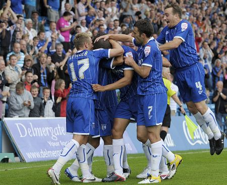 Gillingham celebrate against Cheltenham