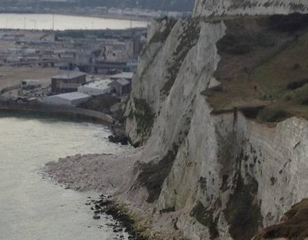 Chalk at the bottom of the White Cliffs near Dover Eastern Docks