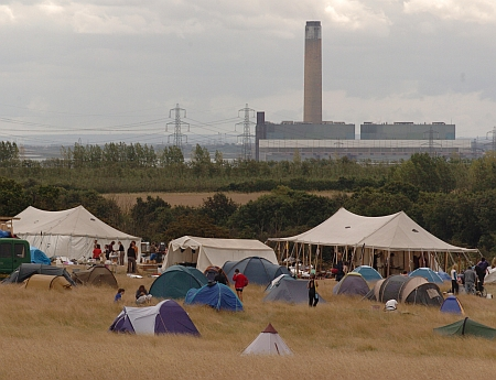 The climate camp near Kingsnorth power station in August 2008.