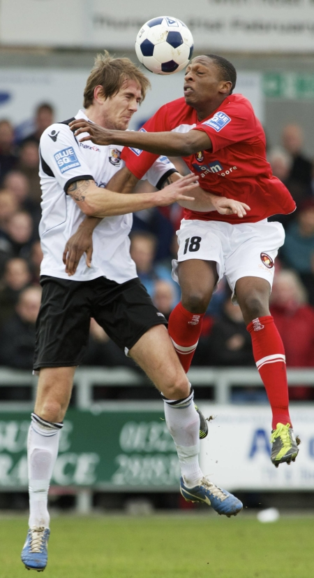 Richard Rose, left, and Lanre Azeez in aerial combat